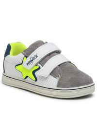 Primigi - Sneakersy PRIMIGI - 7371211 S Grig. Okazja: na spacer, na co dzień. Zapięcie: rzepy. Kolor: biały. Materiał: skóra, zamsz. Szerokość cholewki: normalna. Styl: casual