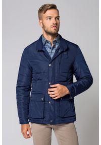 Niebieska kurtka Lancerto ze stójką, na jesień, w kolorowe wzory, casualowa
