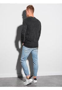 Ombre Clothing - Longsleeve męski bez nadruku L131 - czarny - XXL. Kolor: czarny. Materiał: bawełna. Długość rękawa: długi rękaw #4
