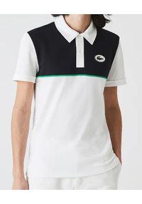 Lacoste - LACOSTE - Dwukolorowy t-shirt polo z logo. Okazja: na co dzień. Typ kołnierza: polo. Kolor: biały. Wzór: aplikacja. Styl: klasyczny, retro, elegancki, casual