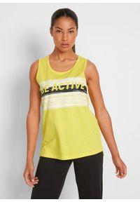 Top sportowy z bawełny organicznej bonprix żółty ananas z nadrukiem. Kolor: żółty. Materiał: bawełna. Wzór: nadruk. Styl: sportowy