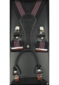 Modini - Czarne szelki w czerwone i białe paski SZ39. Kolor: wielokolorowy, biały, czarny, czerwony. Materiał: skóra, guma. Wzór: paski