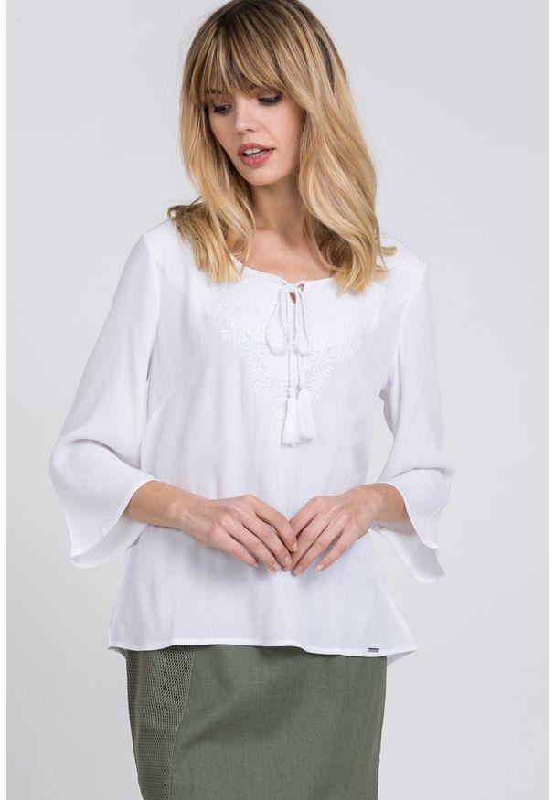 Biała bluzka Monnari z haftami, na co dzień, casualowa