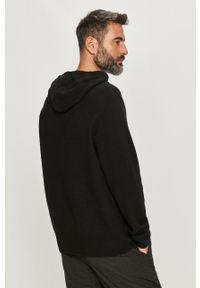 Czarny sweter AllSaints z kapturem, z długim rękawem, długi, casualowy