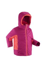 WEDZE - Kurtka narciarska dla dzieci Wedze 500 PNF. Kolor: różowy, wielokolorowy, fioletowy. Materiał: tkanina, polar, materiał. Sport: narciarstwo