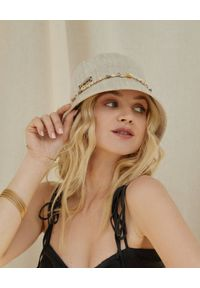 LESHKA - Kapelusz z muszlami Linen Bucket Hat. Kolor: beżowy. Materiał: len. Wzór: aplikacja. Sezon: lato