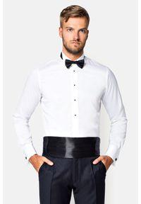 Lancerto - Koszula Biała Belavia. Okazja: na wesele, na ślub cywilny. Kolor: biały. Materiał: bawełna, tkanina. Styl: wizytowy, klasyczny, elegancki
