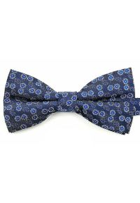 Vernon - Granatowa Męska Mucha - VERNON - w Niebieskie Kwiaty. Kolor: niebieski. Wzór: kwiaty. Styl: sportowy, elegancki