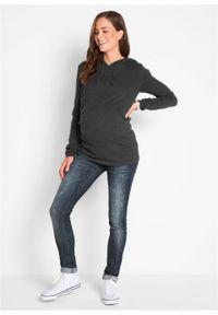 Szary sweter bonprix melanż, moda ciążowa, z kapturem