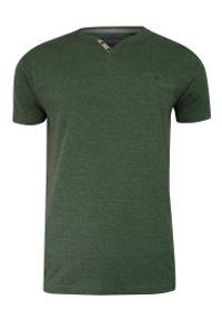 Brave Soul - T-shirt Zielony, Oliwkowy, Dekolt z Guzikami V-neck, Koszulka z Kieszonką -BRAVE SOUL. Okazja: na co dzień. Kolor: zielony, oliwkowy, wielokolorowy. Materiał: bawełna, poliester. Sezon: lato, wiosna. Styl: casual