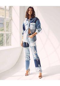 RETROFETE - Patchworkowe spodnie jeansowe. Stan: podwyższony. Kolor: niebieski