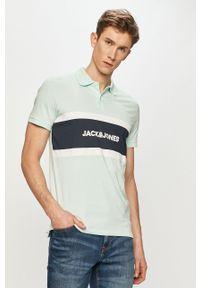 Turkusowa koszulka polo Jack & Jones casualowa, na co dzień, krótka, polo