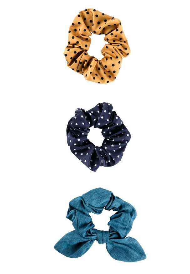 Gumka do włosów (3 szt.) bonprix ciemnoniebiesko-miodowo-jasnoniebieski