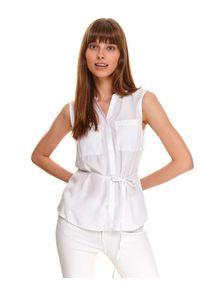 TOP SECRET - Koszula bez rękawów z wiązaniem w pasie. Okazja: do pracy, na co dzień. Kolor: biały. Materiał: tkanina. Długość rękawa: bez rękawów. Wzór: gładki, aplikacja. Styl: casual