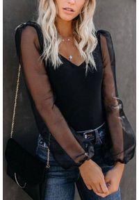 Czarna bluzka IVET w kolorowe wzory, długa