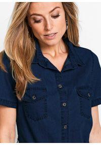 Sukienka bonprix niebieski dżins. Kolor: niebieski. Materiał: materiał. Typ sukienki: szmizjerki. Styl: klasyczny