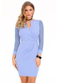 Merribel - Niebieska Dopasowana Sukienka z Transparentnym Rękawem. Kolor: niebieski. Materiał: poliester