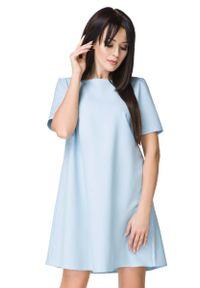 Tessita - Błękitna Sukienka o Kształcie litery A. Kolor: niebieski. Materiał: poliester, elastan