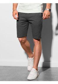 Ombre Clothing - Krótkie spodenki męskie dresowe W299 - grafitowe - XXL. Kolor: szary. Materiał: dresówka. Długość: krótkie. Sezon: lato