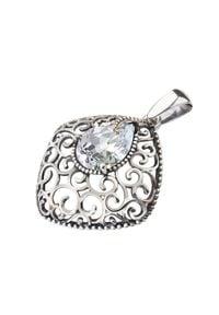 Polcarat Design - Srebrny oksydowany wisiorek z cyrkoniami W 2075. Materiał: srebrne. Kolor: srebrny. Wzór: aplikacja. Kamień szlachetny: cyrkonia