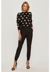 Czarne spodnie materiałowe TwinSet klasyczne, z podwyższonym stanem