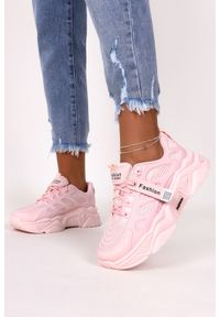 Casu - Różowe sneakersy na platformie buty sportowe sznurowane casu 21f1/p. Kolor: różowy. Obcas: na platformie