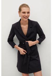 Czarna sukienka mango gładkie, na spotkanie biznesowe, mini, prosta
