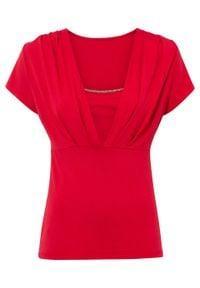 Shirt LENZING™ ECOVERO™ bonprix różowy. Kolor: różowy. Wzór: aplikacja