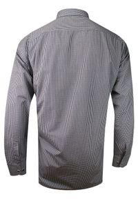Czarna elegancka koszula Rigon w kratkę, długa, z długim rękawem, do pracy