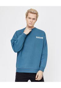BUSCEMI - Niebieska bluza z haftem. Kolor: niebieski. Materiał: bawełna, prążkowany. Długość rękawa: długi rękaw. Długość: długie. Wzór: haft