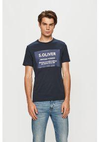 Niebieski t-shirt s.Oliver z nadrukiem, z okrągłym kołnierzem, casualowy