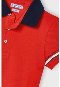 Czerwony t-shirt polo Mayoral krótki, gładki, na co dzień