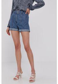 Jacqueline de Yong - Szorty jeansowe. Okazja: na co dzień. Kolor: niebieski. Materiał: jeans. Wzór: gładki. Styl: casual