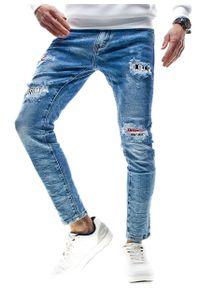 Niebieskie spodnie Recea w kolorowe wzory