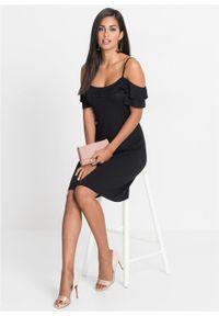 Sukienka cold-shoulder z dżerseju z falbanami bonprix czarny. Kolor: czarny. Materiał: jersey. Długość rękawa: krótki rękaw. Sezon: lato