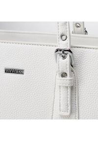 Biała shopperka Wittchen skórzana, elegancka, z haftem