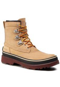 Brązowe buty zimowe sorel street, z cholewką