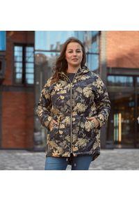 Złota kurtka zimowa Moda Size Plus Iwanek z nadrukiem, krótka, elegancka, na spacer