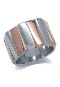 Braccatta - ZEBRANO Srebrny pierścionek obrączka szeroka pozłacany. Materiał: srebrne, pozłacane. Kolor: srebrny