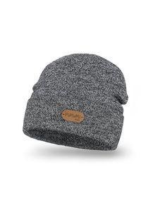 Stylowa czapka dziecięca z wywinięciem PaMaMi - Jasnoszara mulina. Kolor: szary. Materiał: akryl. Styl: elegancki