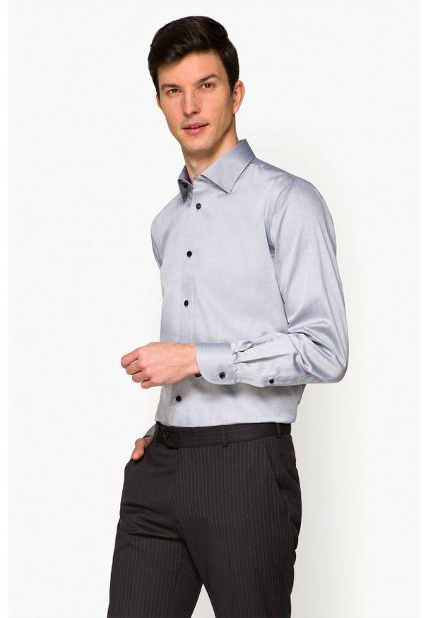 Lancerto - Koszula Szara Deena. Kolor: szary. Materiał: tkanina, wełna, bawełna, jeans. Wzór: ze splotem
