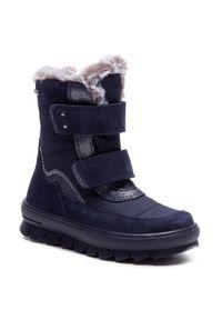 Niebieskie śniegowce Superfit z cholewką