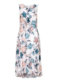 Biała sukienka Cellbes w kwiaty, bez rękawów, na lato