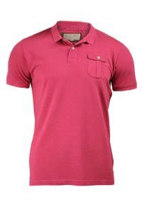 Koszulka Polo z Kieszonką - 100% BAWEŁNA - Brave Soul, Męska. Okazja: na co dzień. Typ kołnierza: polo. Kolor: czerwony, różowy, wielokolorowy. Materiał: bawełna. Styl: casual