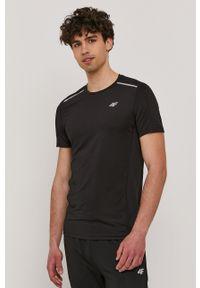 4f - 4F - T-shirt. Okazja: na co dzień. Kolor: czarny. Materiał: włókno, dzianina. Wzór: aplikacja. Styl: casual