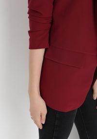 Born2be - Bordowa Marynarka Alexithise. Okazja: na co dzień. Kolor: czerwony. Materiał: jeans. Wzór: aplikacja. Styl: sportowy, klasyczny, casual #3