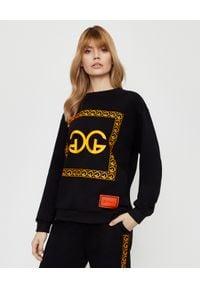 CHAOS BY MARTA BOLIGLOVA - Czarna bluza z bawełny z pomarańczowym logo. Kolor: czarny. Materiał: bawełna. Wzór: nadruk