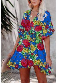 Wielokolorowa sukienka mini IVET w kwiaty, na lato