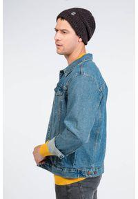 Bordowa czapka męska z wywinięciem - PaMaMi. Kolor: czerwony. Materiał: akryl