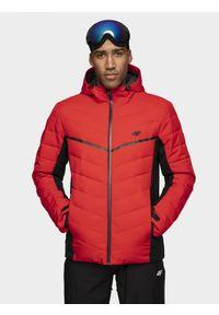 4f - Kurtka narciarska męska. Typ kołnierza: kaptur. Kolor: czerwony. Materiał: puch, mesh, materiał, syntetyk. Sezon: zima. Sport: narciarstwo